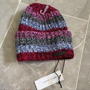 NWT REBECCA MINKOFF Striped Marled Beanie Hat